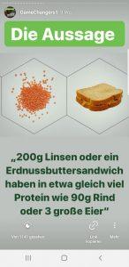 Protein aus Linsen oder einem Erdnussbuttersandwich